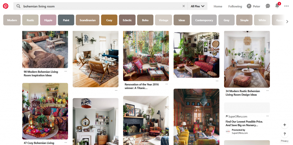 A screenshot of Pinterest showing various Bohemian living room and rugs