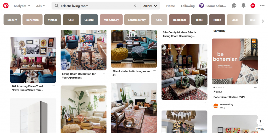 A screenshot of Pinterest showing various Eclectic living room and rugs