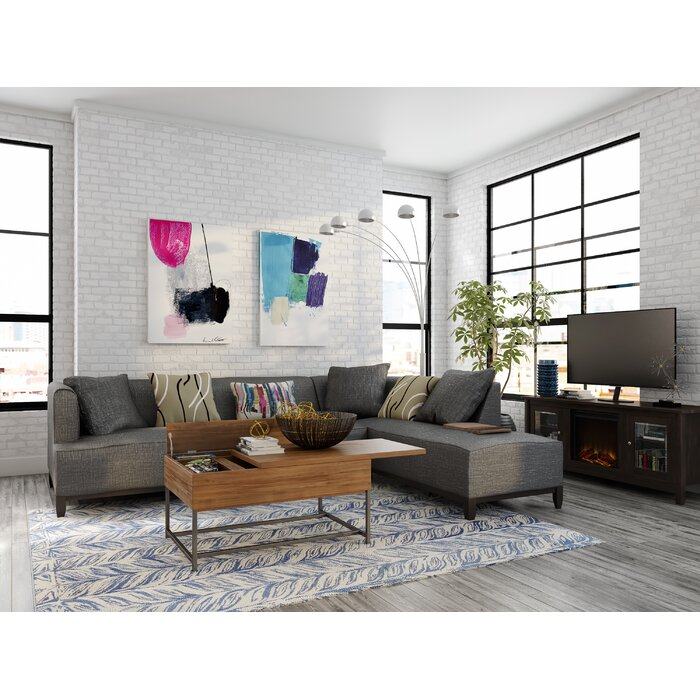 view of a gray colored living room area in an industrial setting