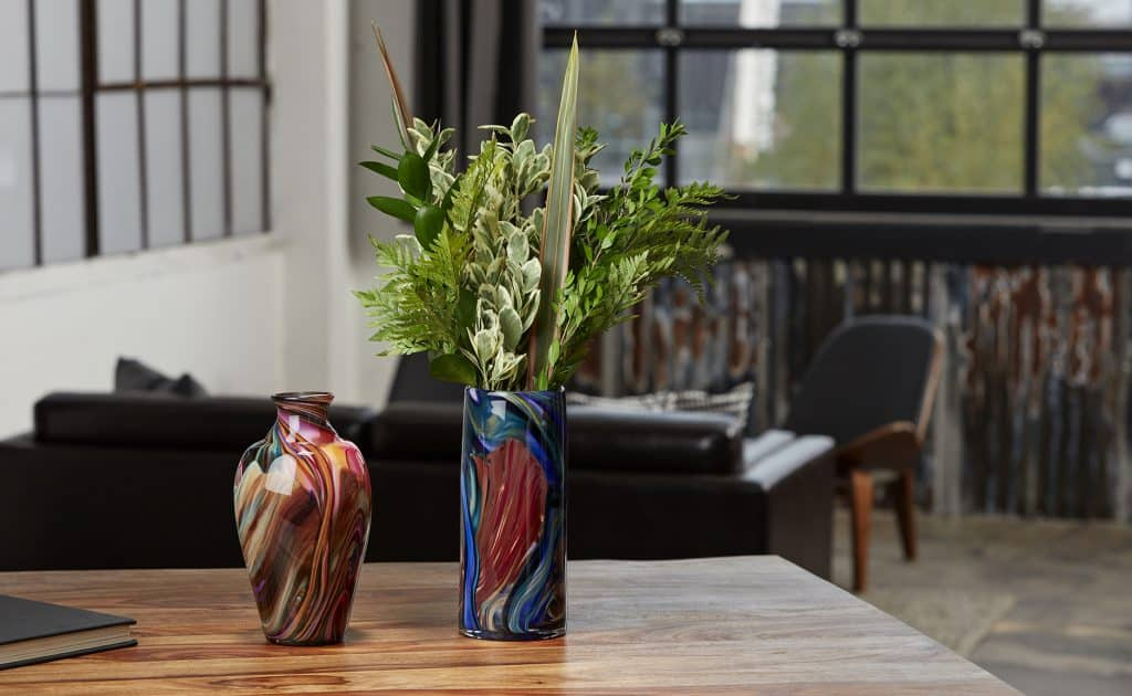 Local Art Glass Vase With Plant