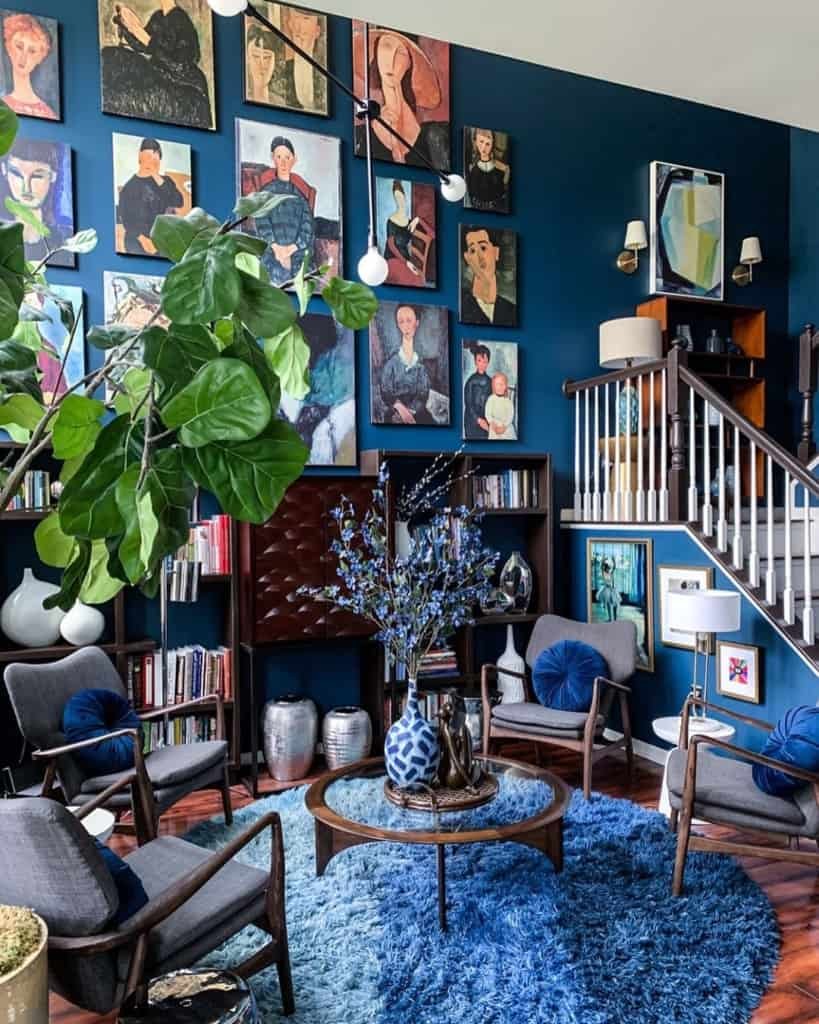 Blue walls with gallery wall art