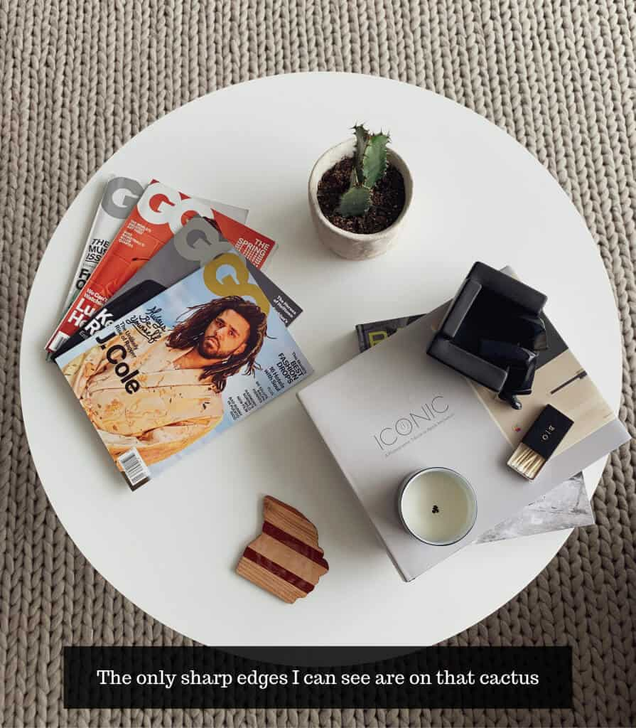 image from above a circular table showing magazines and plants on the table