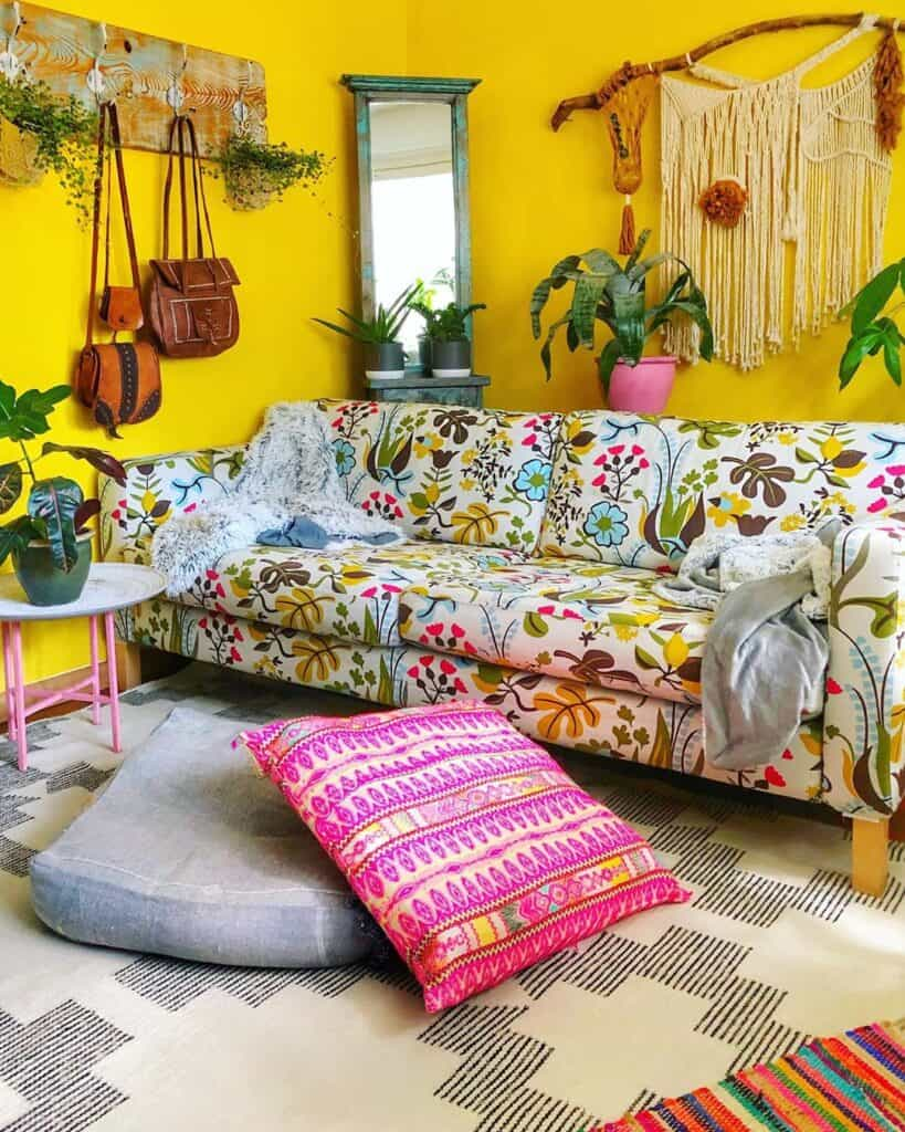 floral sofa with yellow walls