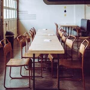 industrial style chairs and table