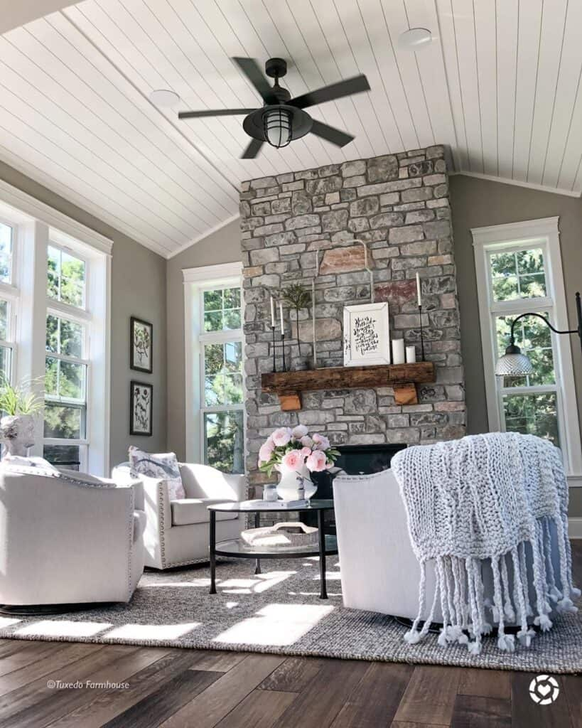 armchairs in the living room with high ceilings