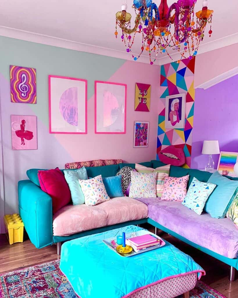 Bright sectional in living room