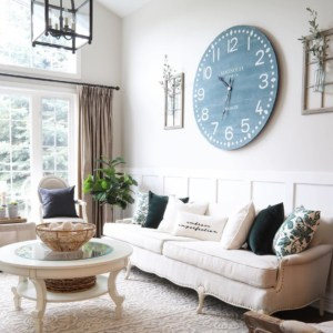 Farmhouse sofa and large clock