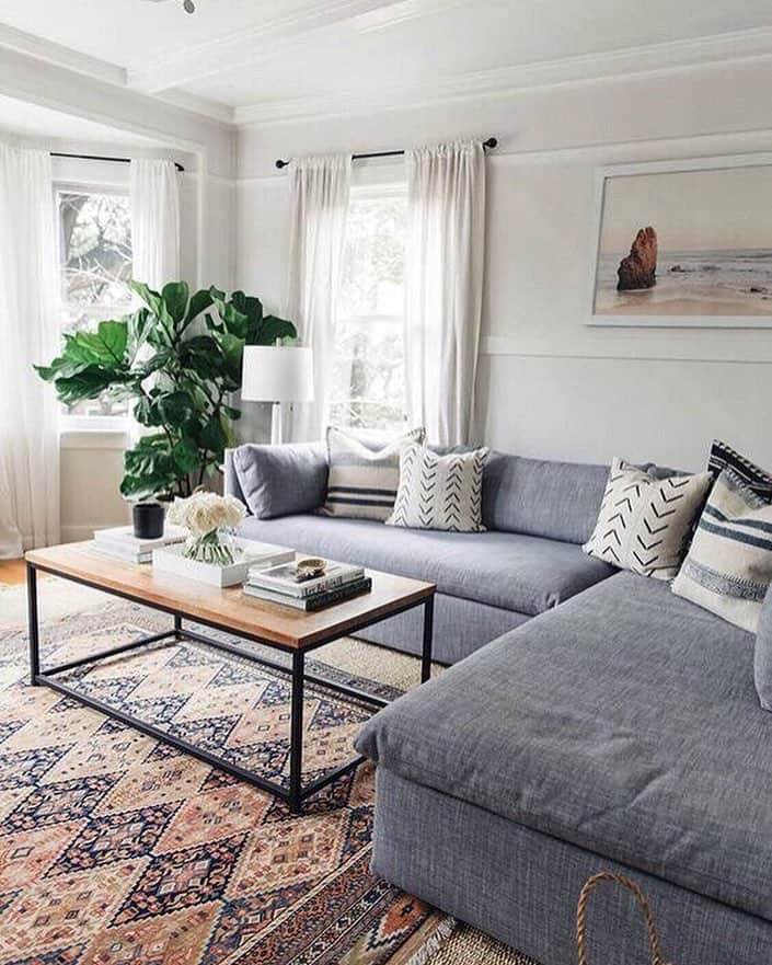 light colored living room with a gray sectional sofa and patterned floor rug