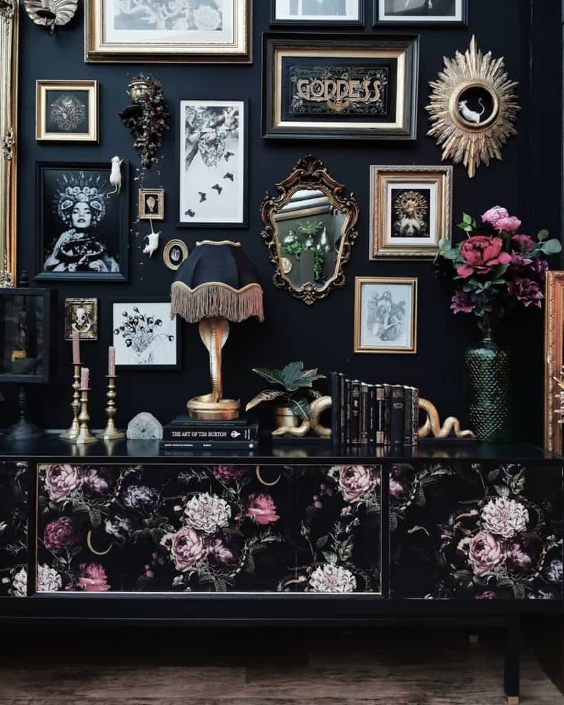 Dark interior with gallery wall and antique furniture