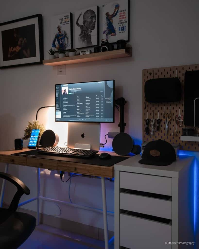Side view of desk setup