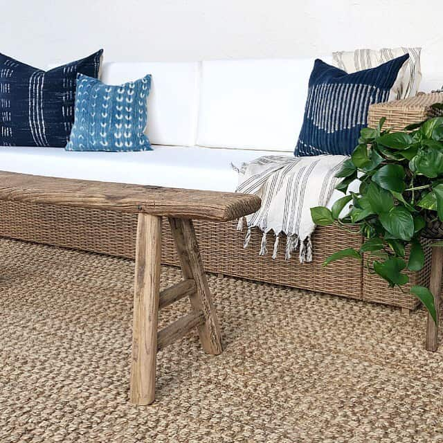 natural fiber rug and outdoor bench