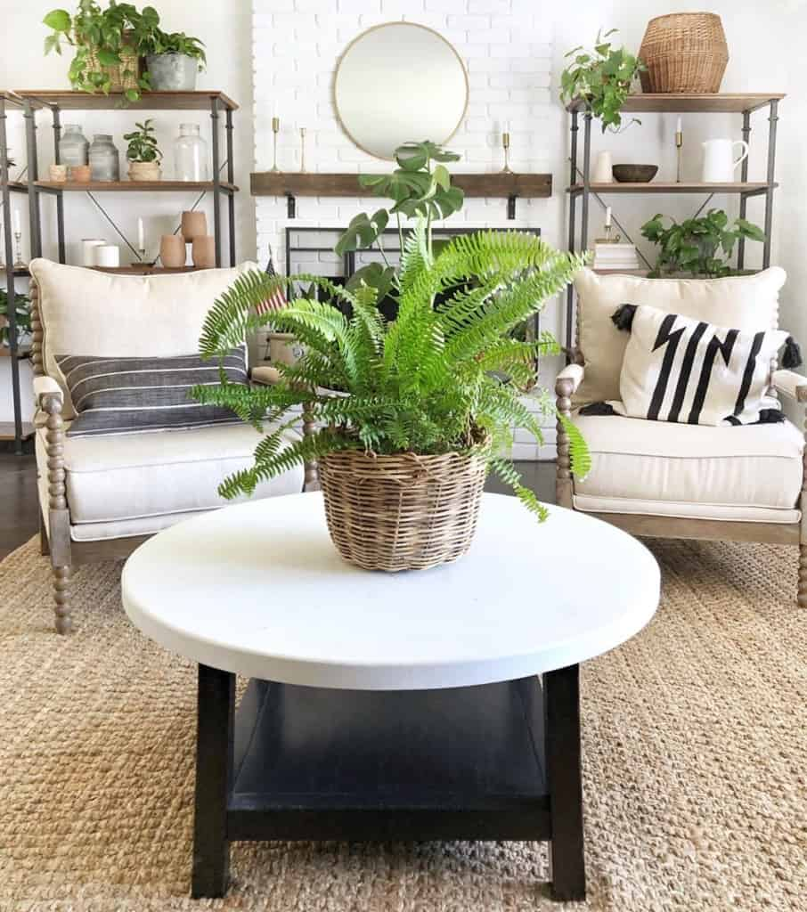 round white coffee table on natural fiber rug
