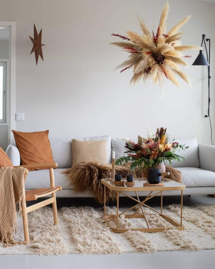 Sofa with grass chandelier