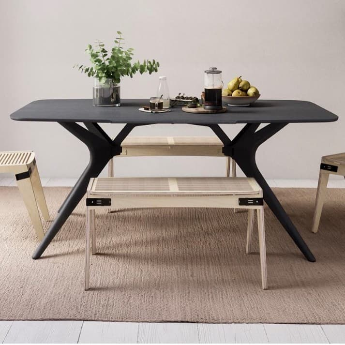 contrasting dining table and chairs