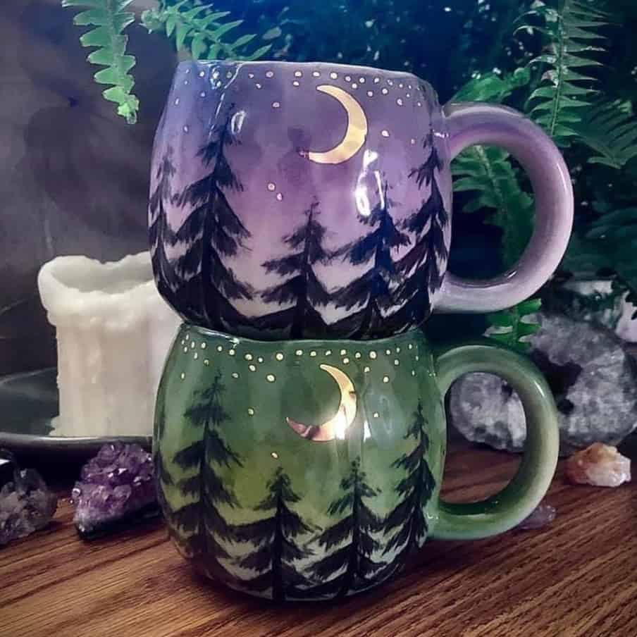 cups with moon and forest