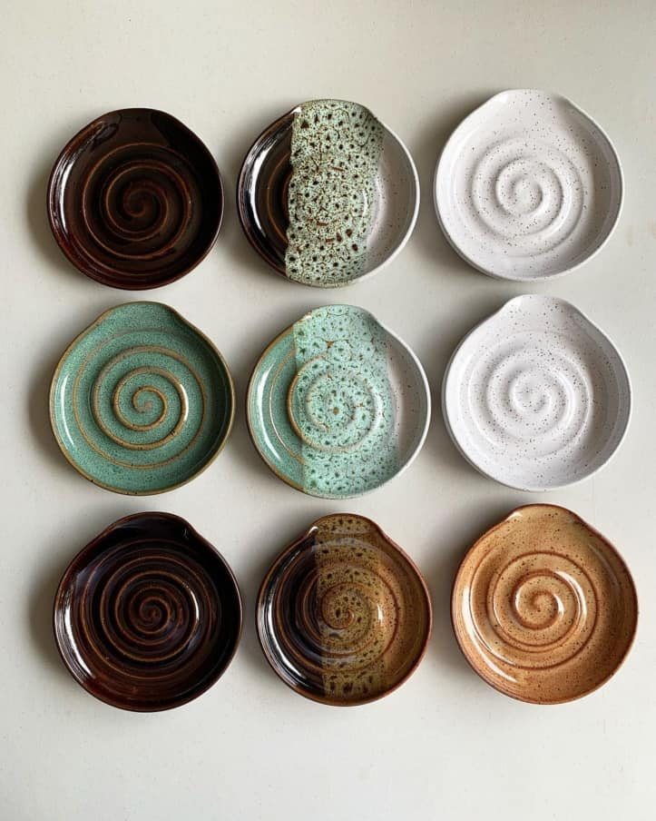 nine spiral-centered bowls