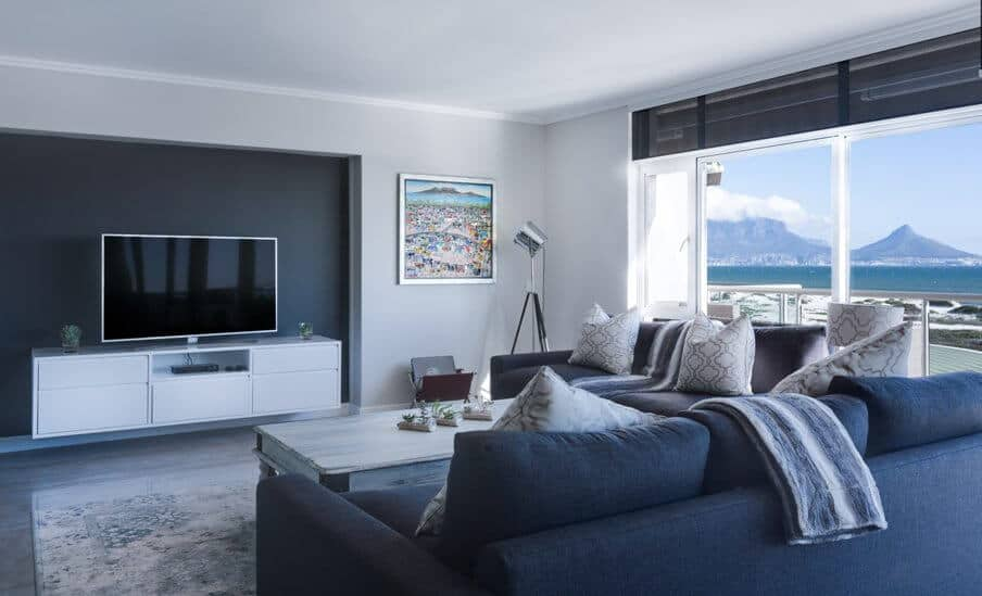 modern living room in blue and gray