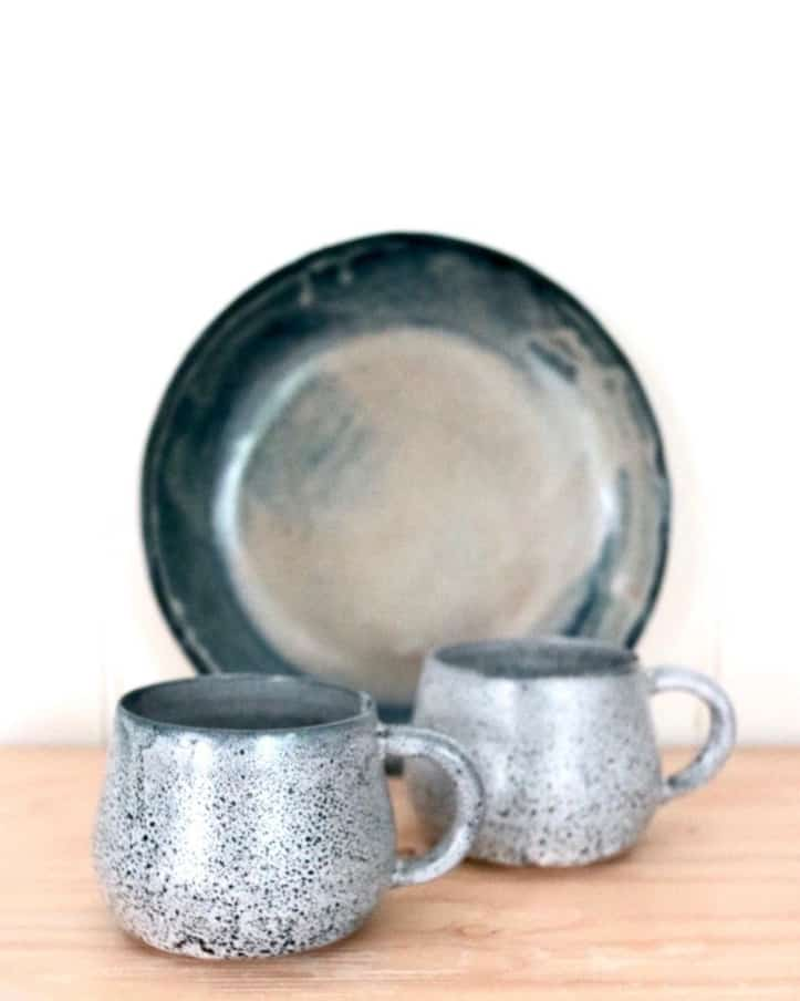 silver cups and plate