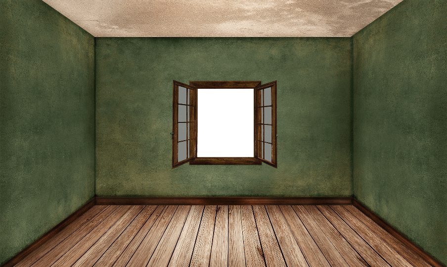 empty room digitally created with 1 window to end wall